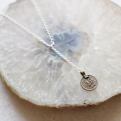 Vintage Coin Necklace with Silver Chain