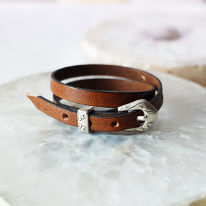 Western Style Double Wrap Leather Bracelet | Adjustable