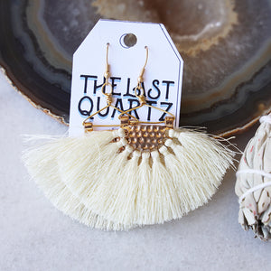 Fan Tassel Earrings | White