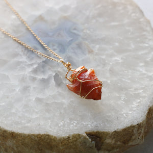 Carnelian Arrowhead Necklace