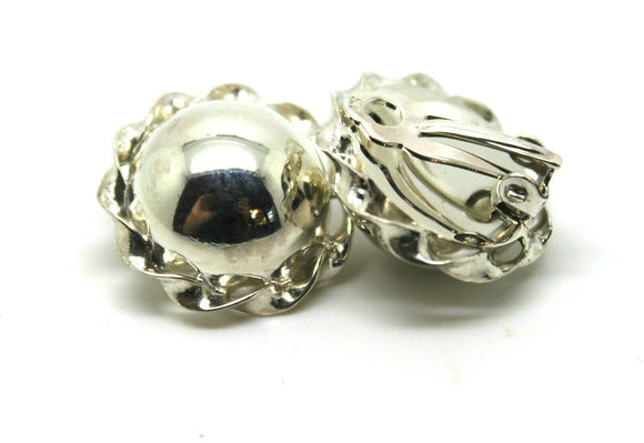 KAEDESIGNS NEW STERLING SILVER HALF LARGE 20MM BALL ROUND CLIP ON EARRINGS