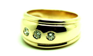 Kaedesigns, New 9ct 375 Full Solid Yellow Gold Diamond Thick Dome Ring 10mm Wide