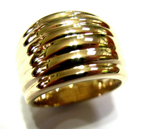Genuine Heavy Wide 9ct 9kt Full Solid Yellow, Rose or White Gold Gold Ridged Dome Ring