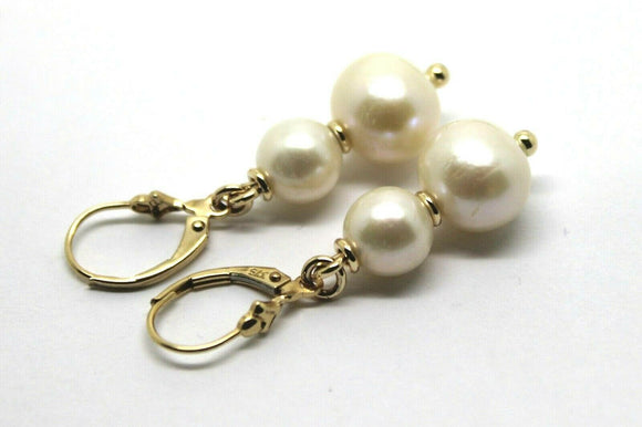 NEW 9CT YELLOW GOLD 6mm & 8MM WHITE PEARL CONTINENTAL CLIP EARRINGS