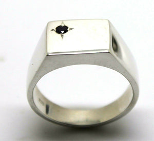 Size W Mens Solid Sterling Silver Black Sapphire Square Signet Ring