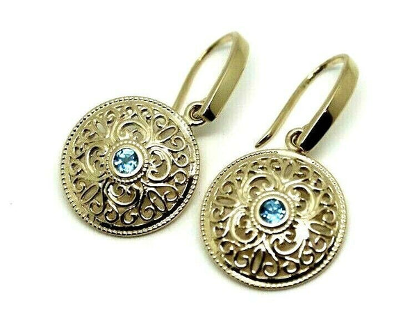 9CT SOLID YELLOW GOLD BLUE TOPAZ FILIGREE ROUND DROP EARRINGS