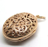 Kaedesigns, New Genuine Heavy 9kt 9ct Rose Gold Filigree Oval Pendant Locket