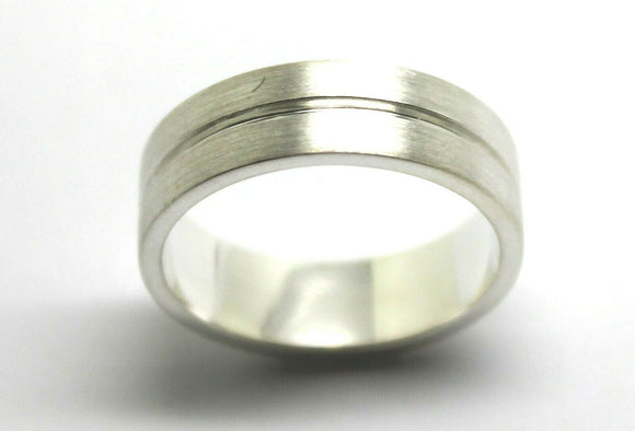 NEW SOLID STERLING SILVER 925 BRUSHED WEDDING BAND HALLMARKED 925