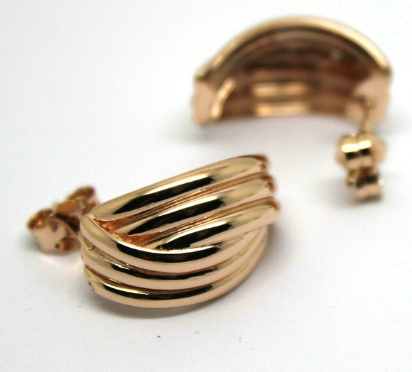 NEW HEAVY 9CT 9K SOLID ROSE GOLD STUD RIDGED EARRINGS
