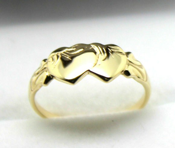 Size O Solid New 9Ct 9Kt Yellow Gold Double Heart Signet Ring