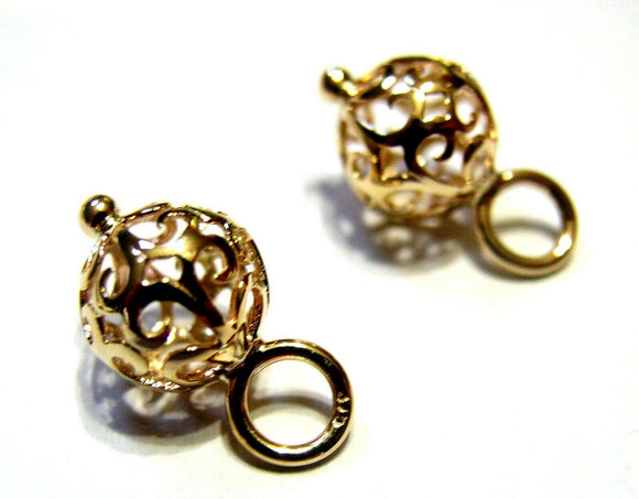 9ct Yellow, Rose or White Gold 10mm Filigree Flower Balls Charm Earrings