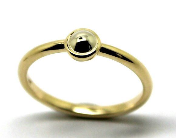 Genuine 9ct yellow gold & white gold ball 4mm Half Ball Ring