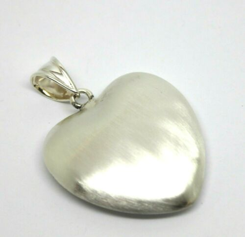 STERLING SILVER MATT FINISH 925 LARGE BUBBLE HEART PENDANT *Free express post