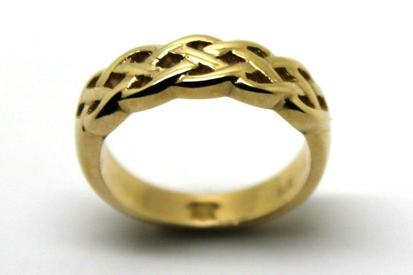 Size N Solid 9ct Heavy Yellow Gold Weave Celtic Ring *Free Express Post In Oz