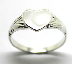 Kaedesigns Solid New Sterling Silver Heart Signet Ring Size H