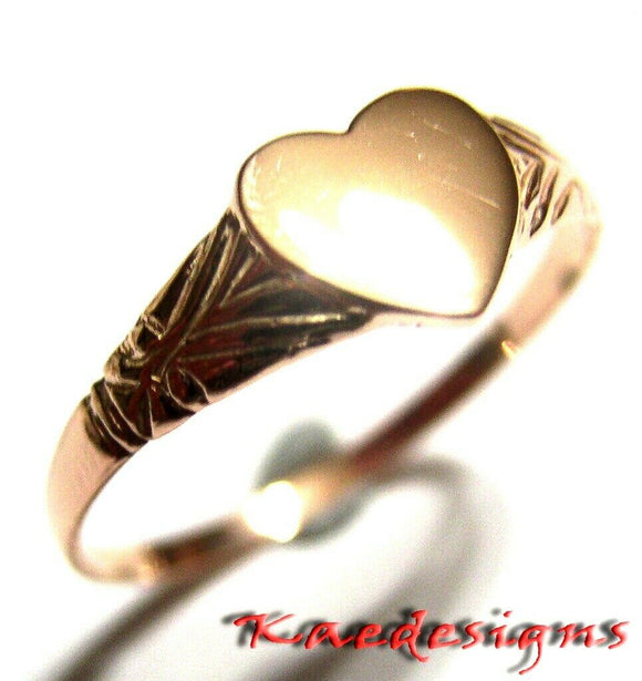Size M 1/2, New Solid Genuine New 9ct 9kt Rose Gold Heart Signet Ring 200