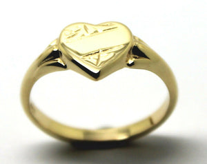 Kaedesigns, New Genuine 9ct Yellow, Rose or White  Gold Small Heart Signet Ring Size H 201