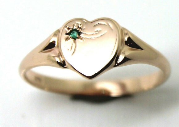 265 Genuine 9ct 9K Rose Gold Green Emerald (Birthstone Of May) Signet Ring