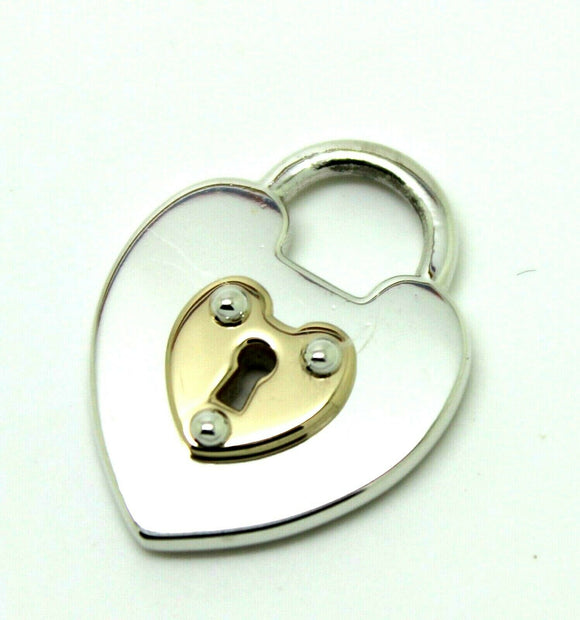 Solid Sterling Silver & 9ct Yellow Gold Heart Padlock *Free Express Post In Oz