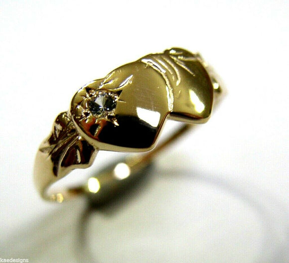9ct Yellow Gold Double Heart White Sapphire Signet Ring*Free Express Post In Oz