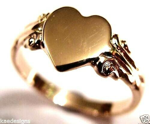 Size J Genuine 9ct 9Kt Yellow, Rose or White Gold 375 Heart Signet Ring