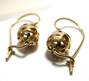Kaedesigns 9ct Yellow, Rose or White  Gold 8mm Euro Ball Drop Filigree Earrings
