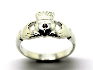 NEW STERLING SILVER 925 PURPLE AMETHYST CLADDAGH RING*FREE EXPRESS POST IN OZ