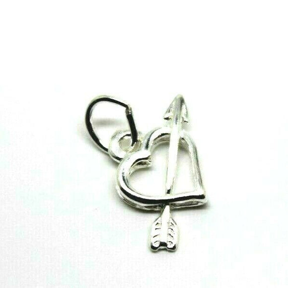 Sterling silver small light weight Hearts and Arrow charm / pendant + jump ring