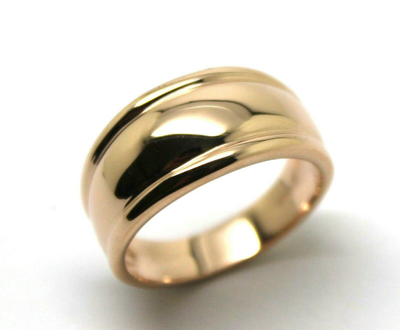 Genuine 9ct 9kt 375 Full Solid Rose Gold Thick Dome Ring 10Mm Wide Size Q / 8