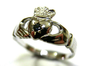 Genuine 9ct White Gold Australian Sapphire (Birthstone September) Claddagh Ring