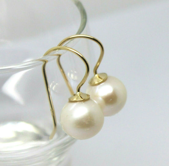 Kaedesigns  New 9CT YELLOW GOLD 10mm PEARL BALL DROP EARRINGS