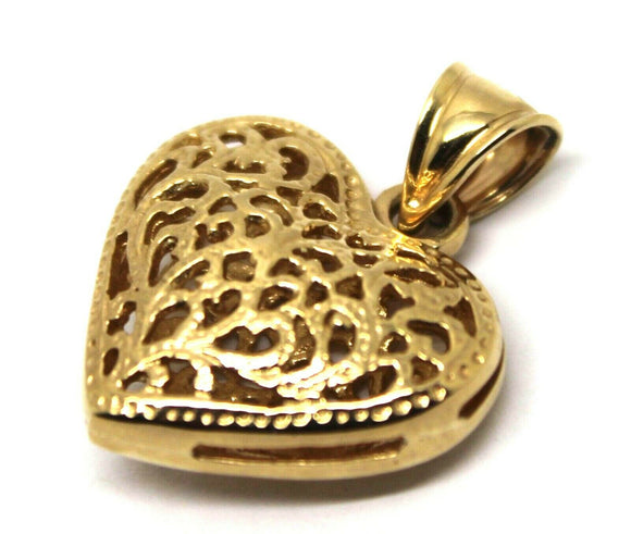 New 9ct Yellow, Rose or White Gold Medium Filigree Heart Pendant