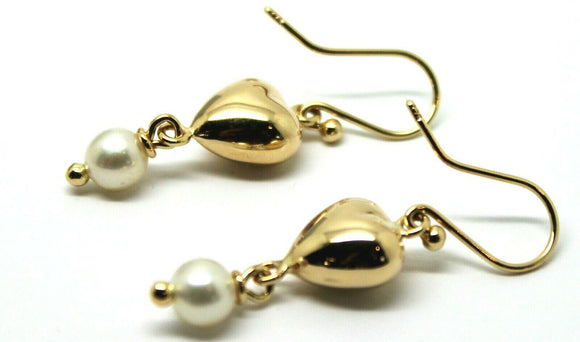 KAEDESIGNS, NEW 9ct Yellow Gold or White Gold or Rose Gold Heart Pearl Earrings