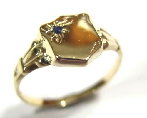 9ct Small Yellow Gold Blue Sapphire Shield Signet Ring *Free Express Post In Oz