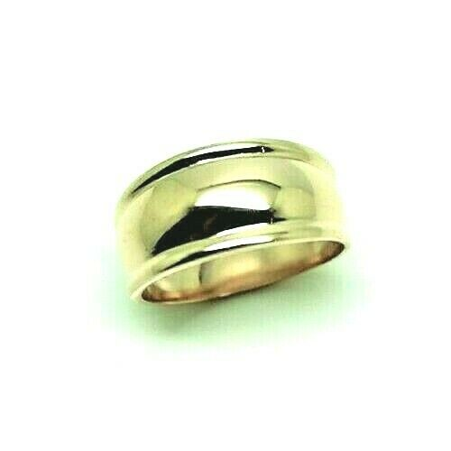 Genuine 9ct Yellow Gold Ridged Dome Ring 10mm Size N / 6.5