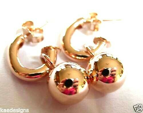 Kaedesigns Genuine Heavy 9ct 9kt Yellow, Rose or White Gold 14mm Belcher Ball Drop Earrings