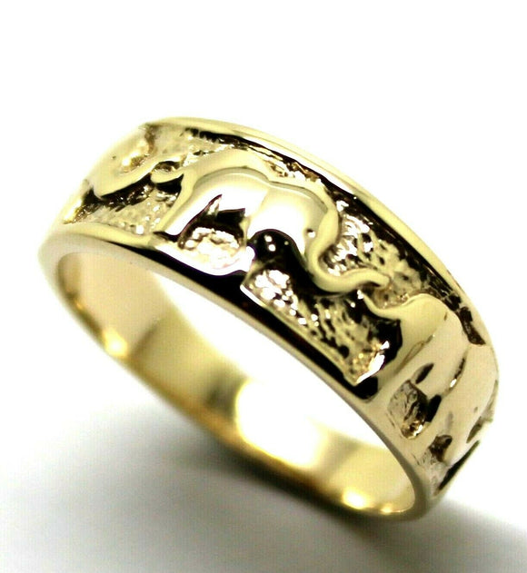 Genuine 9ct Solid Yellow, Rose or White Gold Lucky Elephant Ring Size Q