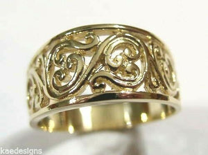 Kaedesigns New Size Q1/2 9ct Full Yellow, Rose or White Gold Filigree Flower Swirl Ring
