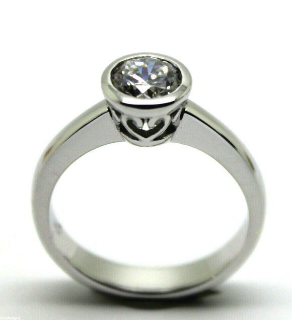 Kaedesigns, New Genuine 9ct 375 Solid White Gold Engagement Ring Size M