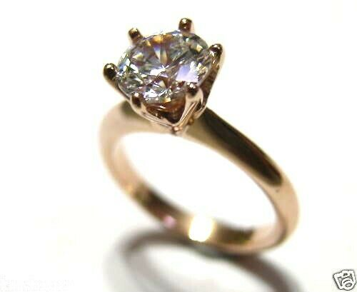 Kaedesigns, New Genuine 9ct 9kt Solid Rose Pink Gold Engagement Ring 7mm stone