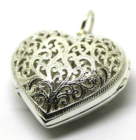 Heavy Genuine Sterling Silver Filigree Heart Pendant Locket