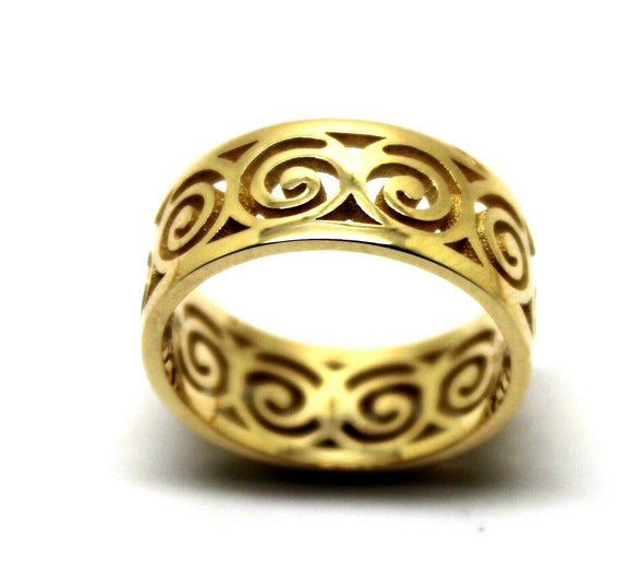 Solid Genuine 9ct Yellow Gold Swirl Surf Wave Ring *Free Express Post In Oz*