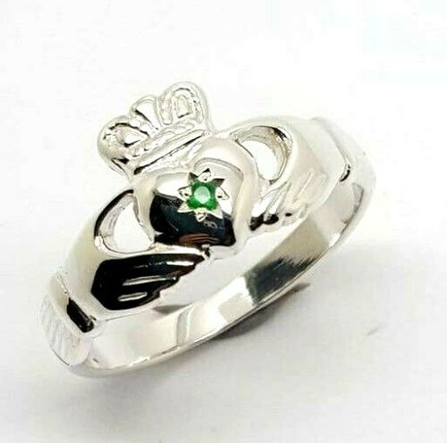 Size M Kaedesigns New Sterling Silver 925 Green Emerald Claddagh Ring