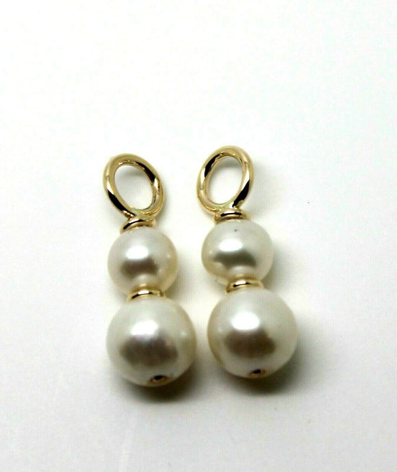 NEW 9CT YELLOW GOLD 6mm & 8MM WHITE PEARL LOOP EARRINGS
