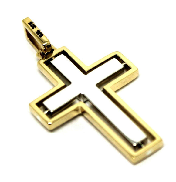 Genuine 9ct Yellow Gold & Sterling Silver Cross Pendant *Free Express Post In Oz