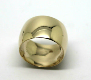 Genuine New Solid  9ct Yellow Gold Full Solid 12mm Wide Barrel Band Ring Size N