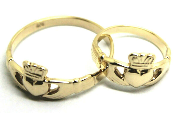 Genuine His & Hers Set Solid 9ct Yellow Gold Celtic Claddagh Wedding Bands Rings