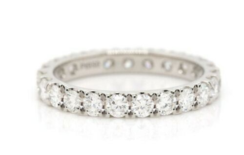 Genuine 1.37cts SIze J 1/2 18K White Gold VS Diamond Eternity Ring band