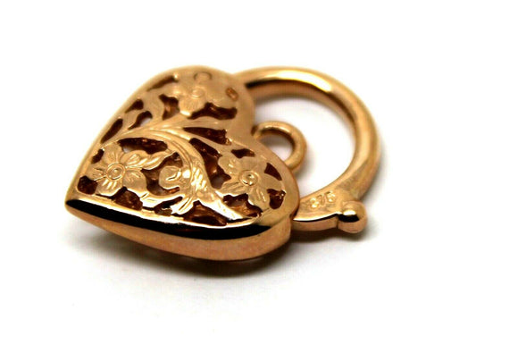 9ct 16mm Rose Gold Filigree Heart Pendant / Padlock *Free Express Post In Oz