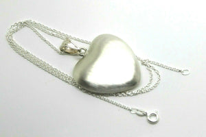 Sterling Silver Chain Necklace & Large Brushed Heart Pendant*Free Express Post
